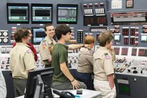 Boy Scouts visit a control room simulator at Oconee Nuclear Station. Boy Scouts have the opportunity to earn several Merit Badges during a Merit Badge College hosted by the World of Energy.