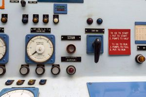 Control room scram button. Photo courtesy of Wkipedia