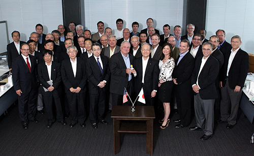 Group shot of the U.S. CNOs and their Japanese counterparts meeting to discuss lessons learned from the Fukushima event. Source: NEI