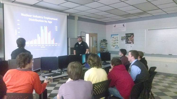 Brad Medlin, a 3D modeler and metrologist and NAYGN officer at Oconee, gave an EWeek presentation to engineering students at Hamilton Career Center in Oconee County.