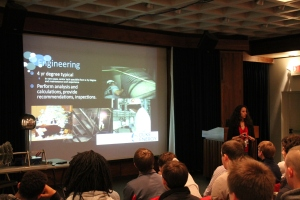 Oconee Nuclear Station's Jessi Link, a systems mechanical engineer and NAYGN member, spoke to 75 students from Anderson County during EWeek 2014.