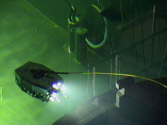 The submarine robot SUSI swims in the spent fuel pool during Oconee Nuclear Station's recent refueling outage.