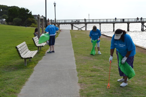 Brunswick Nuclear Plant employees clean up Southport's shoreline.