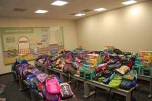 Harris Nuclear Plant collected more than 350 backpacks filled with school supplies for area elementary schools.