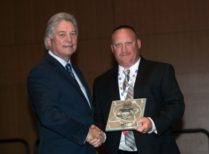 Duke Energy NeverWet® team representative accepting the Operate Plant Award (Photo credit: NEI)