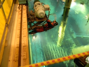 DIVER READY TO DESCEND TO RIG NORTH CART