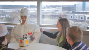 Students learn about radiation protection at Catawba's Career Exploration Day.